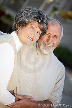 Happy older couple outdoors