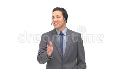 Happy operator with earpiece Stock Photo