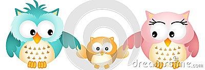 Happy Owl Family Vector Illustration