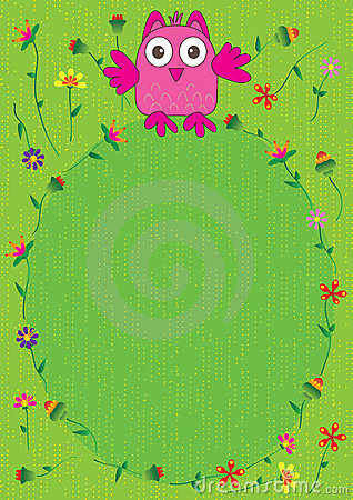 Happy Owl Flowers Frame_eps