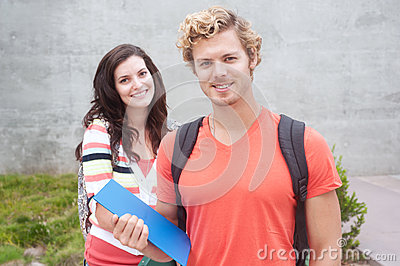 Happy pair of college students