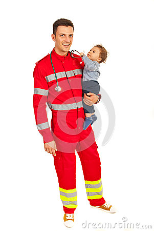 Happy paramedic with baby