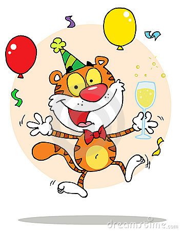 Happy party tiger character with bubbly