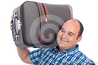 Happy passenger man with luggage