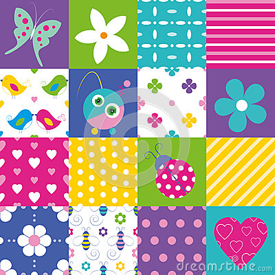 Free Happy Patchwork Pattern Collection Royalty Free Stock Photo - 44103885