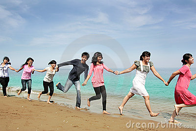 Happy people at beach