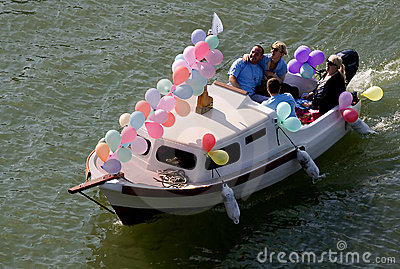 Happy people on board at the carnival Editorial Stock Image