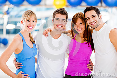 Happy people at the gym
