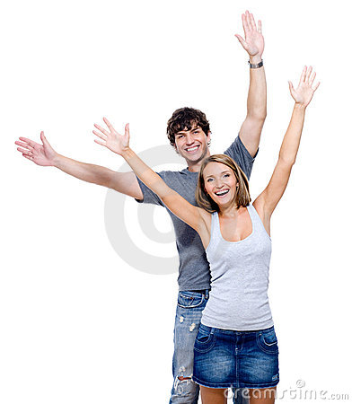 Happy people with the hands lifted upwards