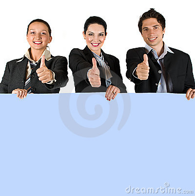 Free Happy People Holding A Board And Give Thumbs-up Royalty Free Stock Photos - 9295288