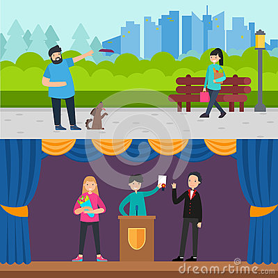 Happy People Horizontal Banners Vector Illustration