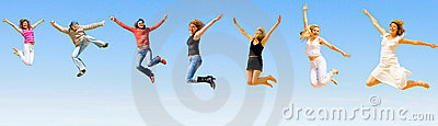 Happy people jumping with joy