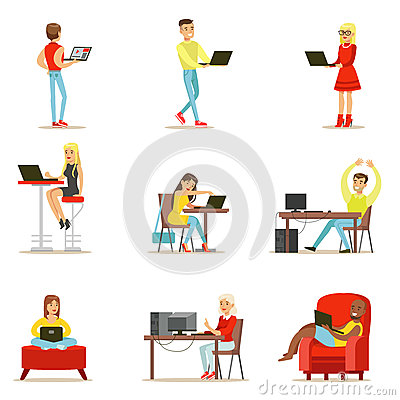 Free Happy People Spending Their Time Using Computer Set Of Vector Illustrations With Men And Women Using Modern Technology Stock Images - 84072034