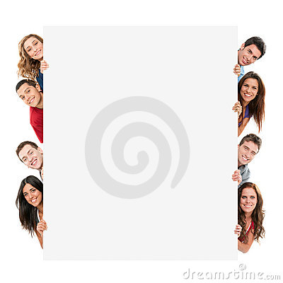 Free Happy People With Banner Stock Image - 19846871