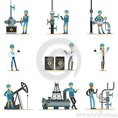 Happy People Working In Oil Industry Set Of Cartoon Characters Working At The Pipeline And Petroleum Extraction Vector Illustration