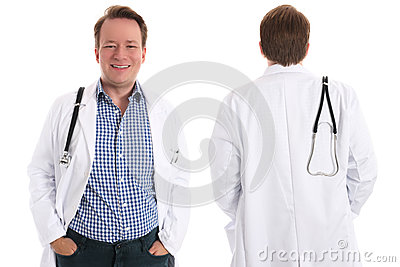 Happy physician, front and back