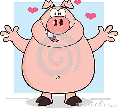 Free Happy Pig Cartoon Mascot Character Open Arms Royalty Free Stock Photo - 37208555