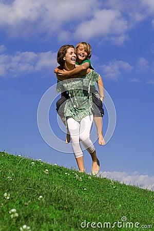 Free Happy Piggyback Family Fun Stock Image - 2581441