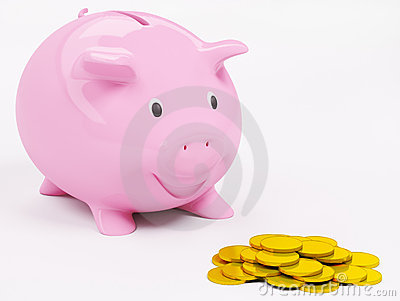 Happy piggybank and coins 3d render