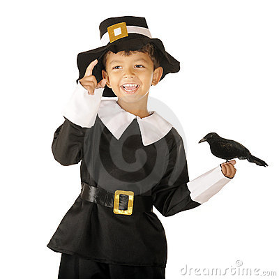 Free Happy Pilgrim Boy With Bird Royalty Free Stock Image - 21116886