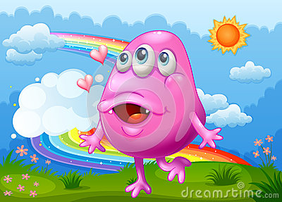 A happy pink monster dancing at the hilltop with a rainbow in th