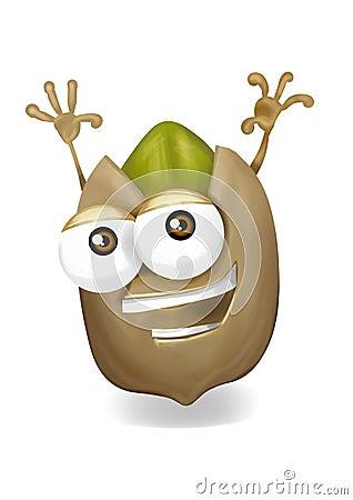 Happy Pistachio Cartoon Character Laughing Joyfully Stock
