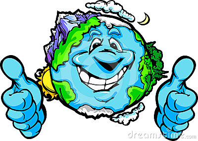 Happy Planet Earth with Thumbs up Gesture Cartoon