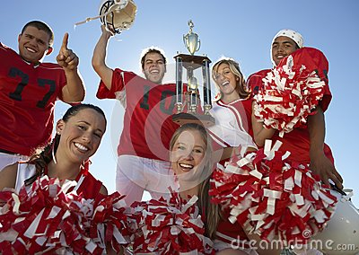 Happy Players With Cheerleaders