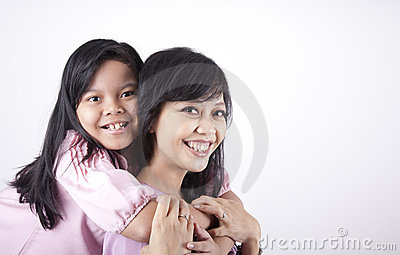 Happy Pose of Mother and Daughter