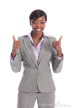 Happy and positive beautiful black business woman