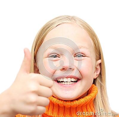 Happy positive blond girl in orange sweate
