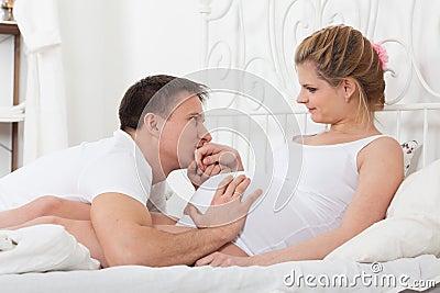 Happy pregnant family