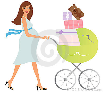 Free Happy Pregnant Woman With Carriage Royalty Free Stock Photos - 19397408