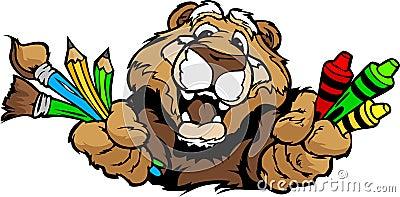 Happy Preschool Cougar Mascot Cartoon  Image
