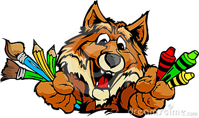 Happy Preschool Fox Mascot Cartoon Image
