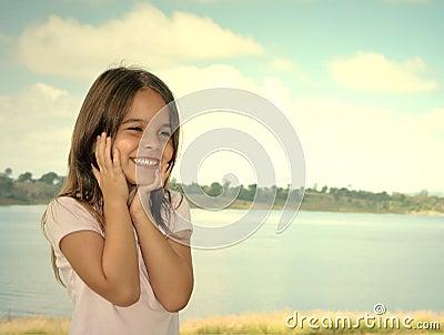 Happy preschool girl