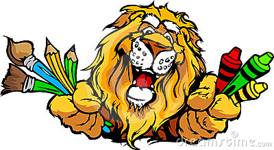 Happy Preschool Lion Mascot Cartoon Image