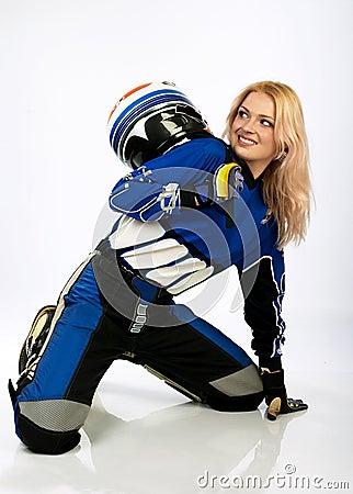 Happy pretty biker.