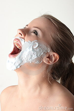 Happy pretty young woman with white beard