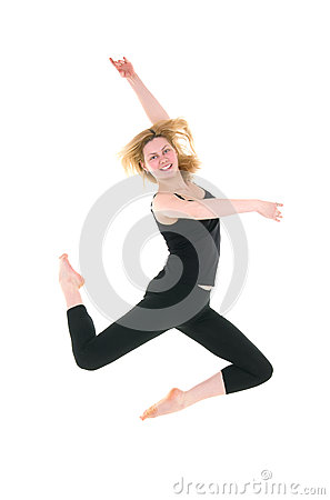 Happy professional dancer girl jumping