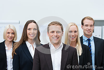 Happy professional young team wearing formal suits