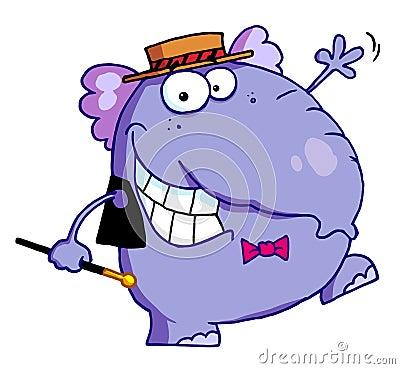 Happy purple elephant