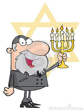 Happy rabbi man holding up a menorah