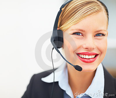 Happy receptionist with headset
