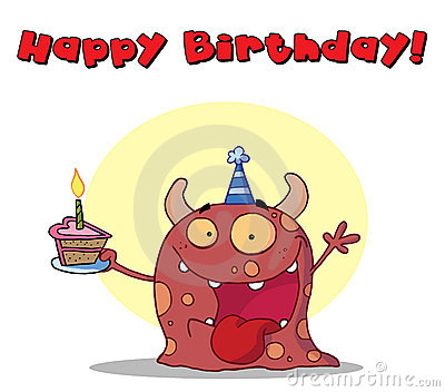 Happy red monster celebrates birthday