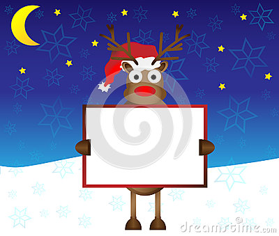 Happy red nose Reindeer deer holding blank paper