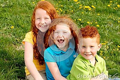 Happy redhead children