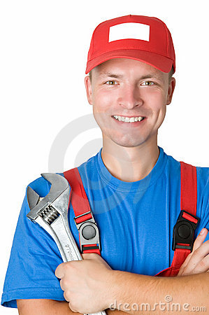 Happy repairman worker serviceman