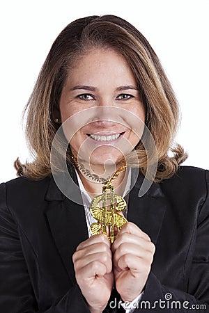 Happy rich businesswoman