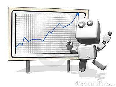 Happy Robot with positive financial graph